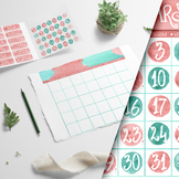 Wall Calendar Teal and Coral