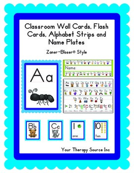 Wall Cards, Charts, Name Plates and strips Zaner-Bloser style