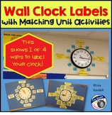 Wall Clock Labels with Matching Unit Activities GREAT FOR