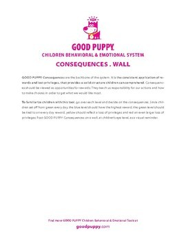 Consequences Wall . Child Behavioral & Emotional Tools by GOOD PUPPY