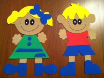 Little Girl & Boy Wall Decoration (Yellow Hair)