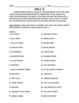 Wall-E Movie Worksheet