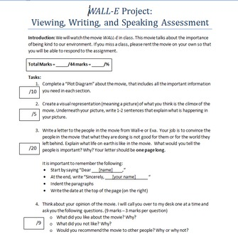 Wall-E Projects (Speaking, Viewing, and Writing Assessment)