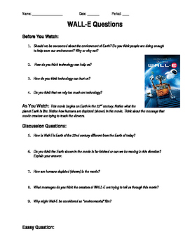 Wall-E Viewing Questions and Essay