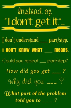 """Wall Poster - Instead of """"I Don't Get It""""... (green with gold text)"""