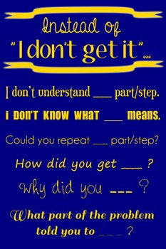 "Wall Poster - Instead of ""I Don't Get It""... (navy with gold text)"