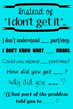 "Wall Poster - Instead of ""I Don't Get It""... (turquoise with black text)"