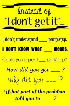 "Wall Poster - Instead of ""I Don't Get It""... (yellow with black text)"