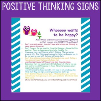 """Counselor Sign Pack """"Positive Thinking"""" Cognitive Behavior"""