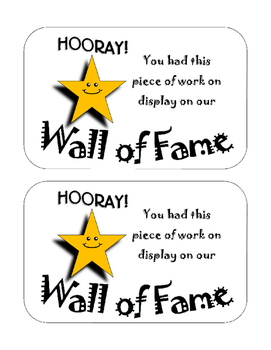 Wall of Fame Certificate