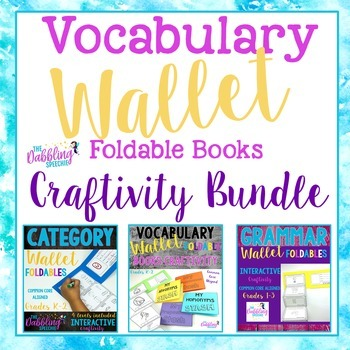 Wallet Foldable Books Craftivity BUNDLE- Categories, Vocabulary & Grammar