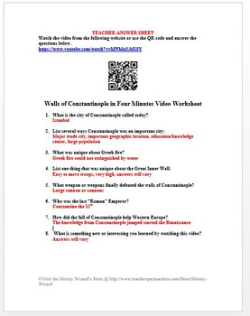Walls of Constantinople in Four Minutes Video Worksheet