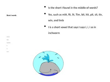 Wally the Whale discovers the short i vowel