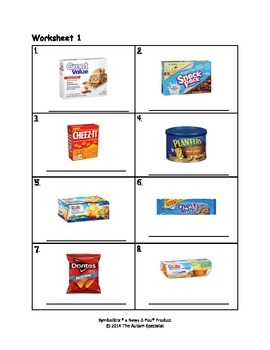 Walmart Functional Vocabulary Words for Snacks