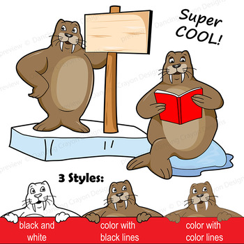 Walrus Clip Art with Signs