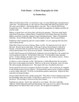 Walt Disney - A Short Biography for Kids