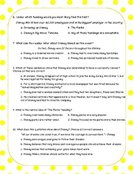 Walt Disney Biography Close Reading Passage and Questions