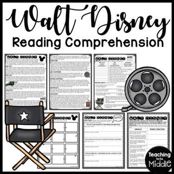Walt Disney Biography Reading Comprehension and Sequencing, High Interest