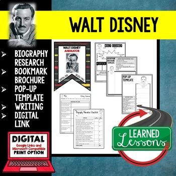Walt Disney Biography Research, Bookmark Brochure, Pop-Up, Writing, Google