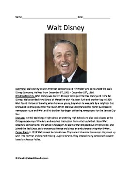 Walt Disney - Full Life Story Review Questions Activities