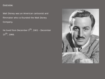 Walt Disney Power Point - Full History Childhood Career Information Pictures