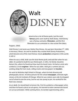 Walt Disney biography worksheet by Gavin Academy | TpT