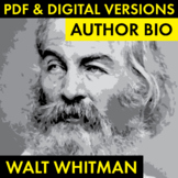 Walt Whitman Author Study Worksheet, Whitman Biography, PD