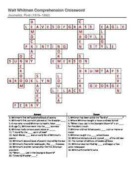 Walt Whitman Crossword