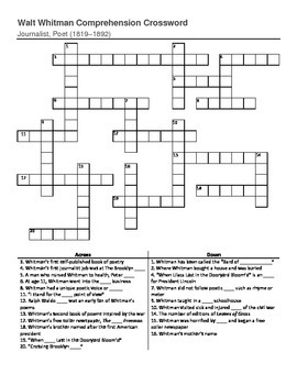 Walt Whitman Crossword