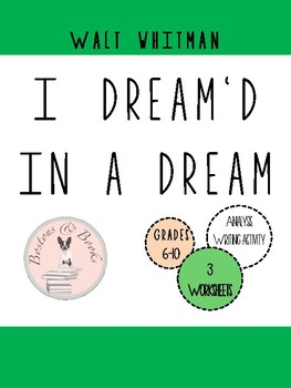 """Walt Whitman """"I Dream'd In a Dream"""" Poetry Analysis and Writing Assignment"""