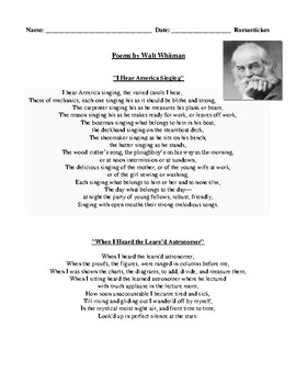 Walt Whitman Poetry, Romanticism, Review Worksheet, and Detailed Answer Key