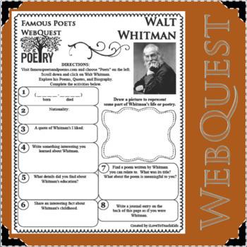 Walt Whitman - WEBQUEST for Poetry - Famous Poet