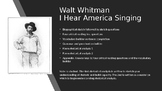 Walt Whitman bio sketch and reading comprehension question