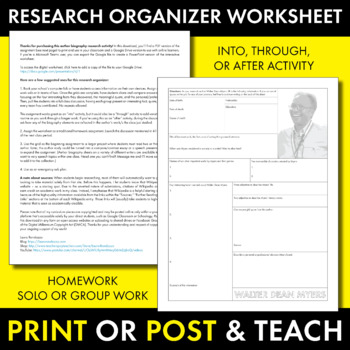 Walter Dean Myers Author Study Worksheet, Easy Biography Activity, CCSS