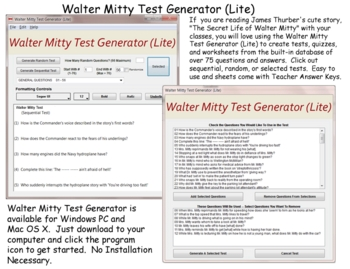 Walter Mitty Test Generator Lite for Windows PC  James Thurber