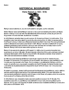 Walter Raleigh  Biography Article and (3) Assignments