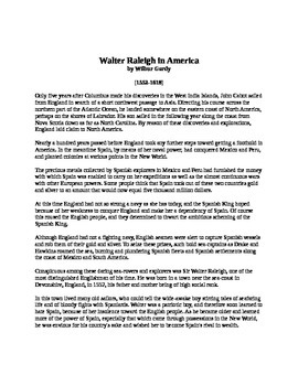 Walter Raleigh in America