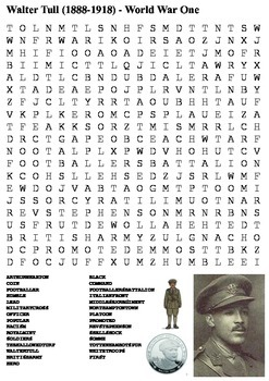 Walter Tull  - World War One Word Search