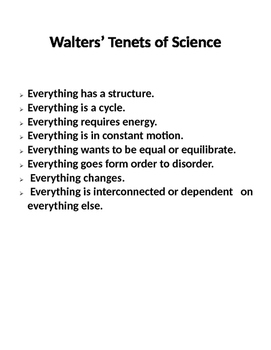 Walters' Tenets of Science