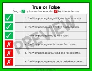 Wampanoag Reading Comprehension for Google Classroom