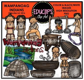 Wampanoag Indians Clip Art Bundle {Educlips Clipart}