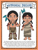 Wampanoag Indians Coloring Page Craft and Poster, Native American Tribes
