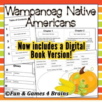 Wampanoag Native American booklet- main idea - vocabulary -compare contrast-comp