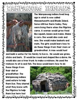 Wampanoag & Pilgrim Life {Non-Fiction} Close Readings