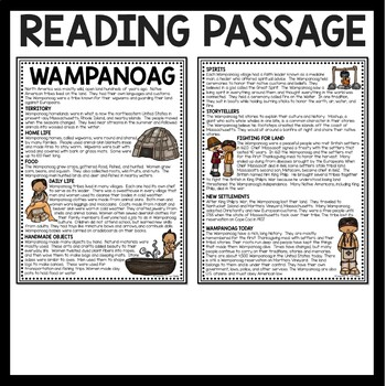 Wampanoag Reading Comprehension Worksheet First Thanksgiving