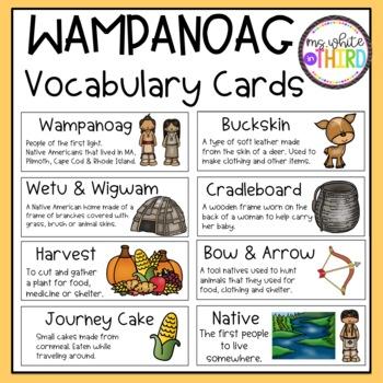 Wampanoag Vocabulary Cards