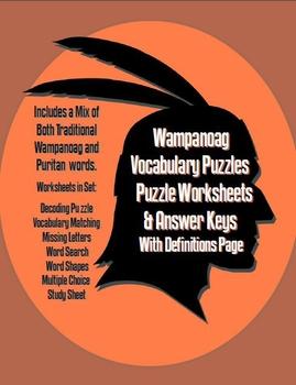 Wampanoag Vocabulary Puzzle Worksheets