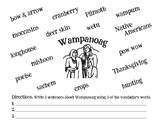 Wampanoag Vocabulary Sheet