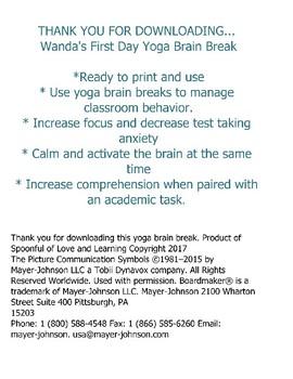 Wanda's First Day Yoga Brain Break