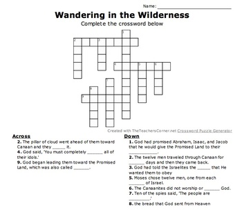 Wandering in the Wilderness Crossword (Moses and the Israelites)
